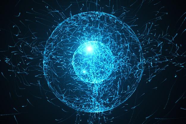 Loopable fundo abstrato partículas com formas de esfera que foram fortemente deformadas pela força de deslocamento de ruído ilustração 3d