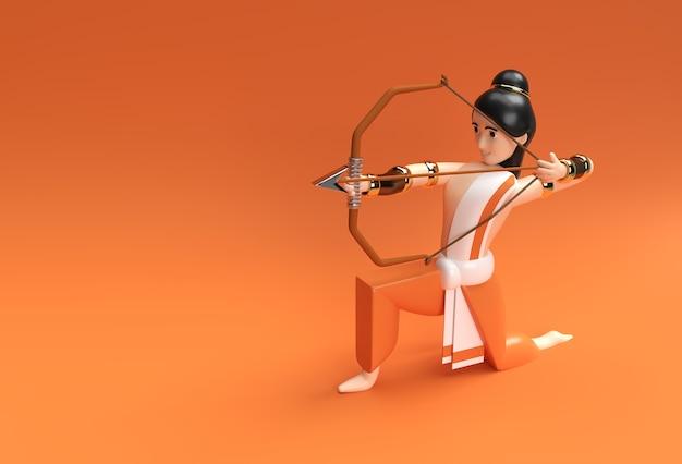 Lord rama arrow com bow navratri festival of india poster, 3d render ilustração design.