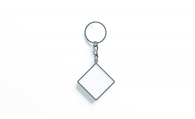 Losango de metal em branco branco chaveiro vista superior
