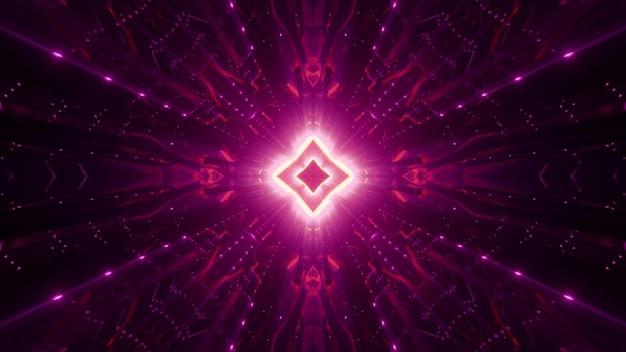 Losango simétrico e ornamento abstrato brilhando com luz de néon brilhante