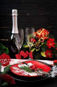 Louça tradicional na mesa de natal