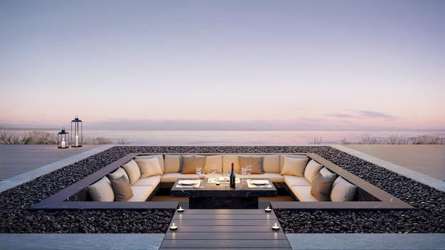 Lounge na varanda ao ar livre para festa.