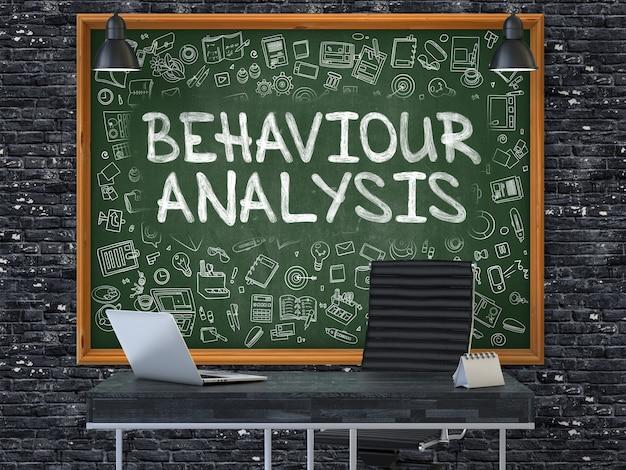 Lousa verde na parede de tijolo escuro no interior de um escritório moderno com análise de comportamento de mão desenhada. conceito de negócio com elementos de estilo doodle. 3d.