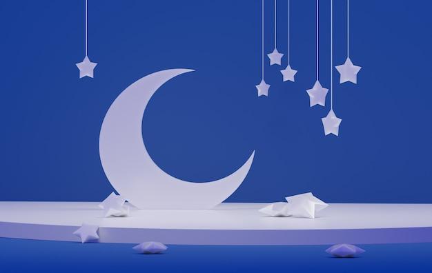 Lua branca com estrelas, sobre um fundo azul. estrelas cadentes. renderização 3d