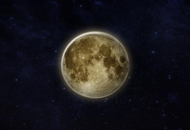 Lua cheia lunar isolada em campo de estrelas em céu noturno escuro ou espaço negro mostra superfície ou textura da lua