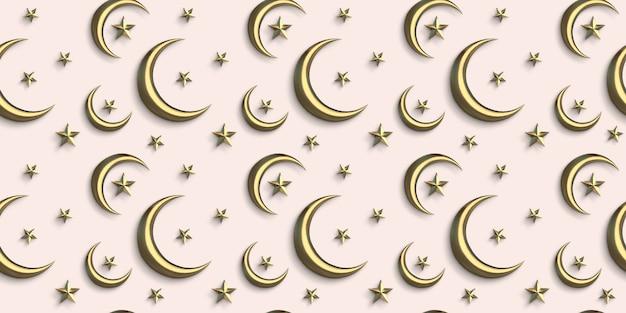 Lua crescente dourada de padrão sem emenda islâmico 3d com fundo estrela