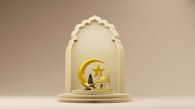 Lua crescente e estrelas douradas com o símbolo islâmico da mesquita renderização em 3d