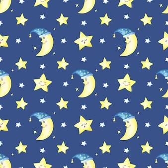 Lua crescente e estrelas em um azul escuro