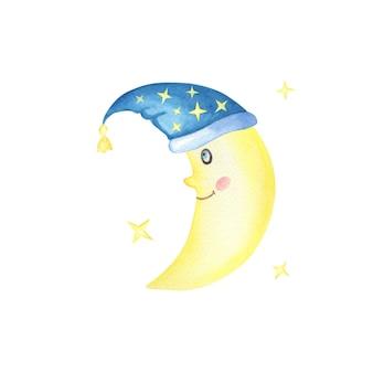Lua crescente e estrelas em um branco