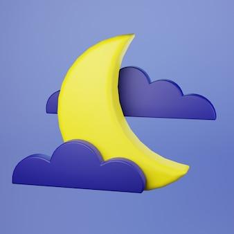 Lua crescente e ícone de nuvem no céu noturno renderização em 3d