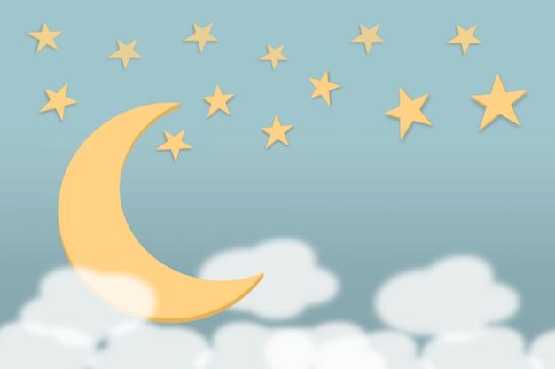 Lua de canção de ninar doce suavidade, estrela de brilho e nuvens de fundo