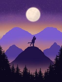 Lua linda paisagem com casal