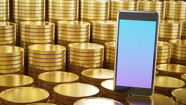 Lugar móvel para smartphone nas fileiras de moedas de ouro
