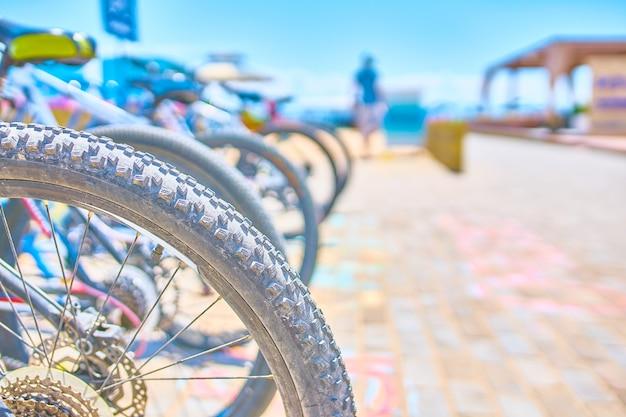 Lugares de estacionamento para bicicletas com bicicletas à beira-mar