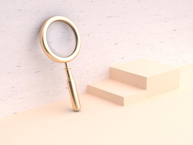 Lupa de ouro mínima madeira parede fundo renderização em 3d
