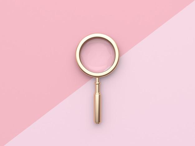 Lupa de ouro minimal plano rosa leigos fundo renderização em 3d