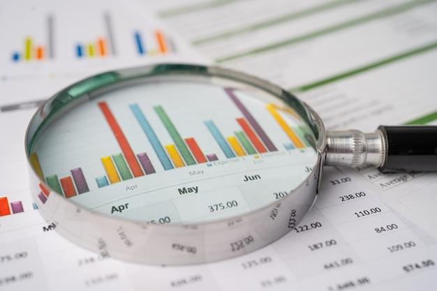 Lupa em papel de gráficos de tabelas. desenvolvimento financeiro, conta bancária, estatísticas, economia de dados de pesquisa analítica de investimento, negociação de bolsa de valores, conceito de reunião de empresa de escritório comercial.