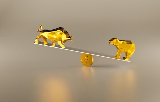 Lutando contra o touro e o urso, alta e baixa do mercado de ações, renderização de ilustração 3d