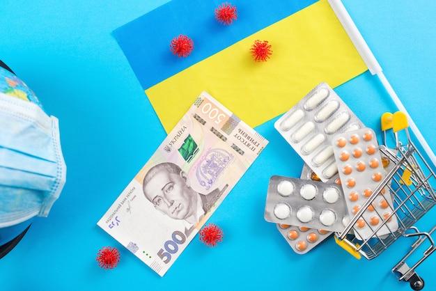 Lutar contra o coronavírus na ucrânia. quarentena de coronavírus. surto de coronavírus na ucrânia. conceito de medicamentos de proteção.