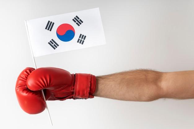 Luva de boxe com a bandeira da coreia do sul. boxer segura bandeira da coreia do sul. fundo branco.