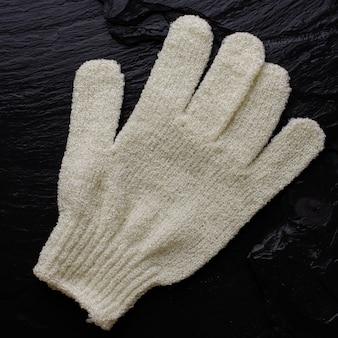 Luva de esponja de banho de mão em preto