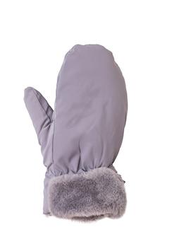 Luva feminina com a mão direita isolada em uma superfície branca. bebida quente e luvas.