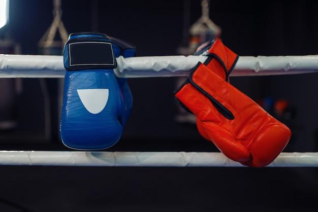 Luvas de boxe vermelhas e azuis em cordas