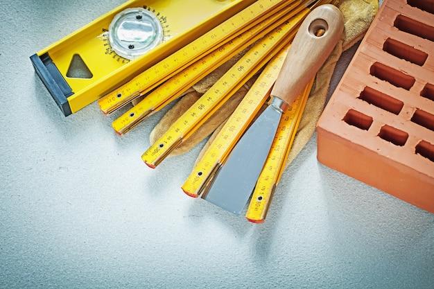 Luvas de segurança de tijolo vermelho espátula de nível de construção medidor de madeira