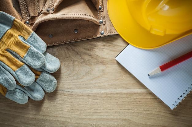 Luvas de segurança para cinto de ferramentas de couro, capacete, lápis, notebook