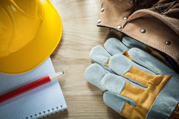 Luvas protetoras de couro para cinto de ferramentas para construção de capacete a lápis