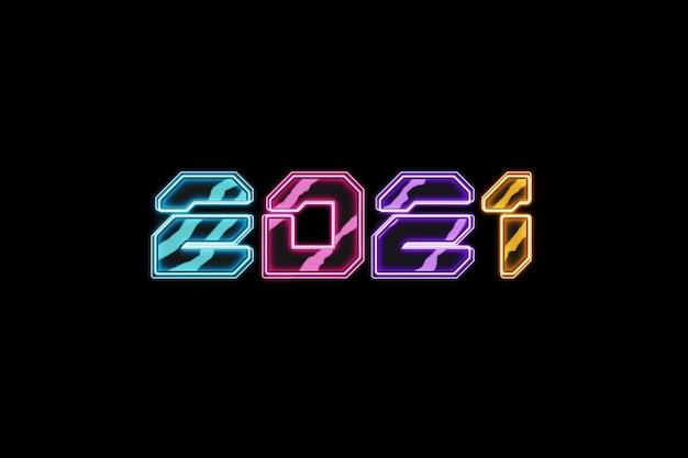 Luxo criativo neon sci-fi lettering 2021 em fundo escuro.