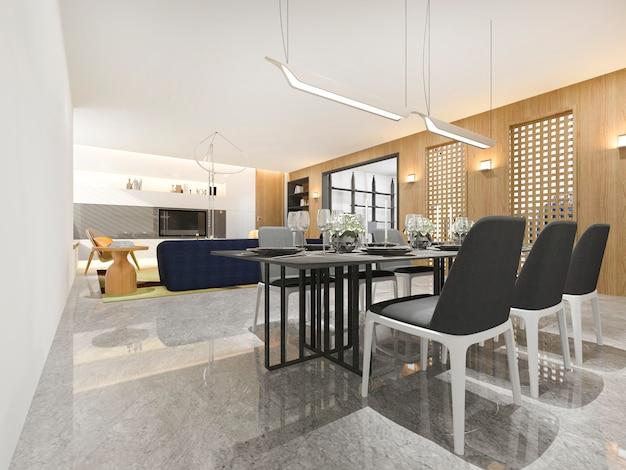 Luxo de madeira de renderização 3d e moderna sala de estar e sala de jantar