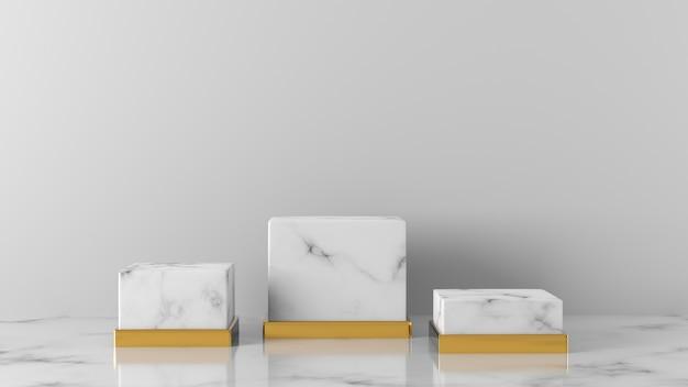 Luxo mínimo três caixa de mármore branco vitrine pódio em fundo branco