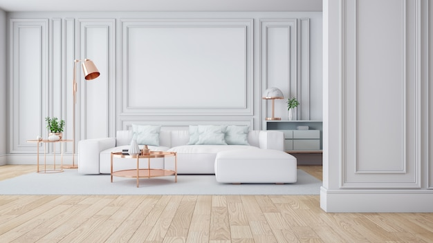 Luxo moderno branco sala interior, 3drender