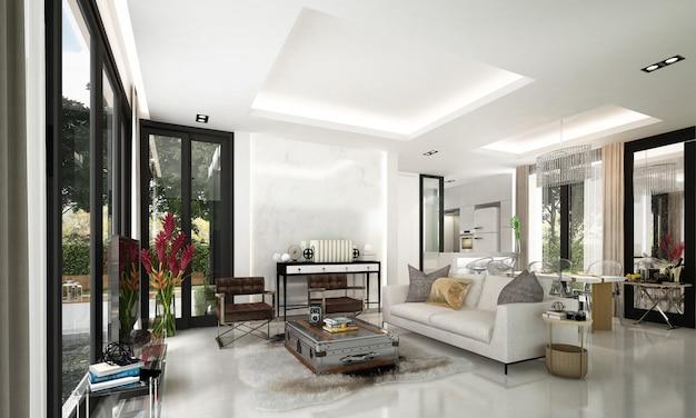 Luxo moderno e bela simulação de cenário de design de interiores de sala de estar e fundo de parede padrão e área de jantar e despensa