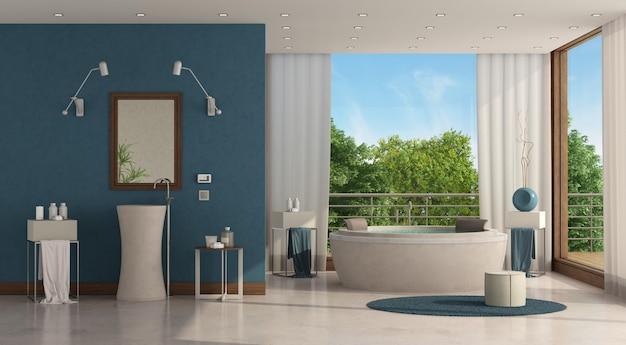Luxuosa casa de banho com banheira redonda e lavatório
