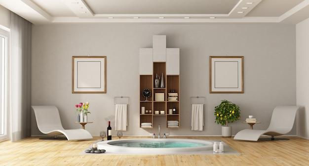 Luxuosa casa de banho com banheira redonda embutida