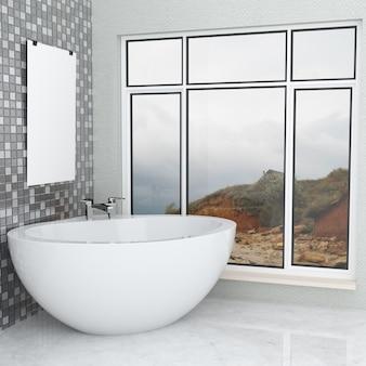 Luxuosa casa de banho moderna branca com moldura vazia