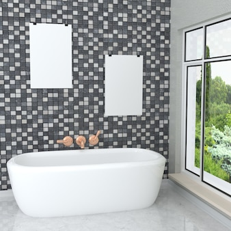 Luxuosa casa de banho moderna branca com quadros vazios
