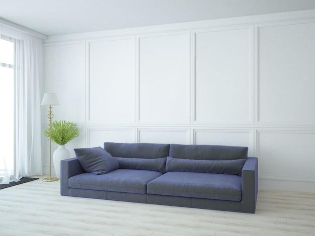 Luxuosa sala de estar branca com sofá longo e planta