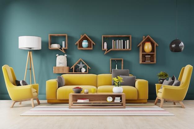 Luxuosa sala interior com sofá amarelo, poltrona amarela e prateleiras
