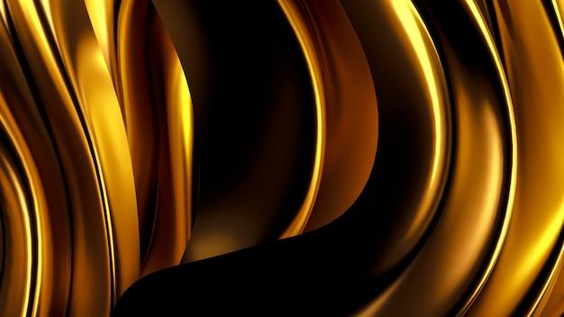 Luxuoso fundo dourado com cortinas de cetim. renderização em 3d.