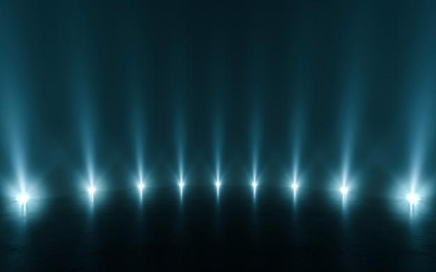 Luz abstrata futurista e reflexão. renderização em 3d