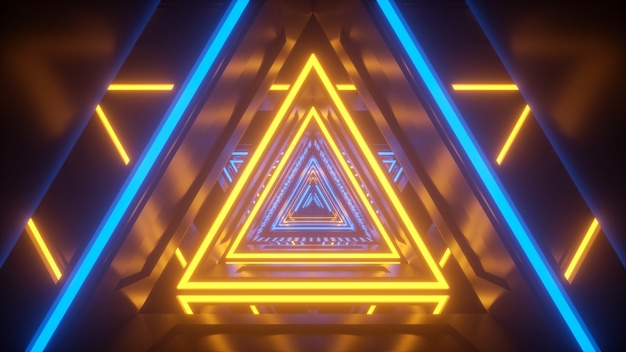 Luz amarela de néon e túnel de tecnologia azul scifi tech calidor futurista com reflexos