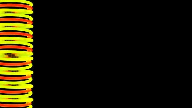 Luz amarela e vermelha espiral de incandescência no fundo preto