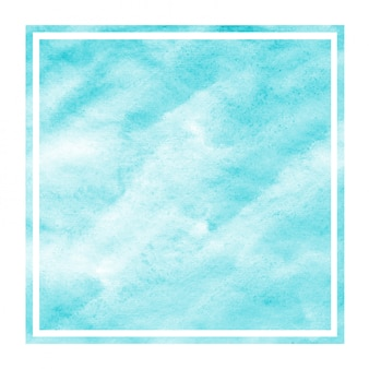 Luz azul mão desenhada aquarela moldura retangular textura de fundo com manchas