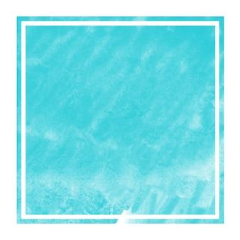 Luz azul mão desenhada aquarela retangular moldura textura de fundo com manchas