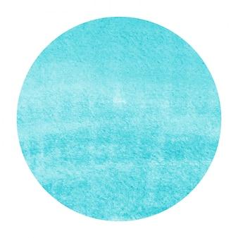 Luz azul mão desenhada aquarela textura de fundo quadro circular com manchas