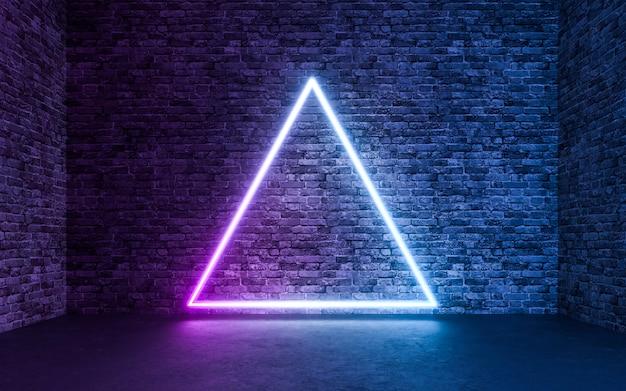 Luz de néon abstrata com fundo vazio de quarto de tijolo de concreto grunge. renderização 3d