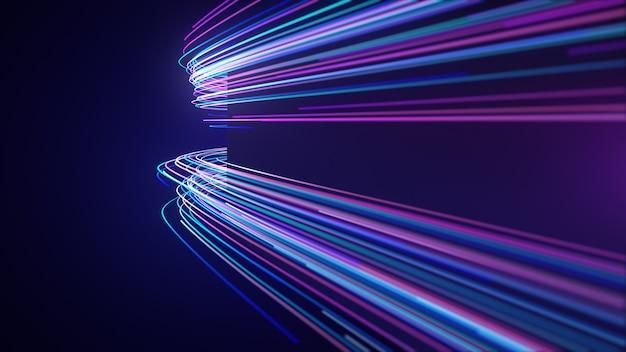 Luz de neon abstrata estrias linhas movimento parede